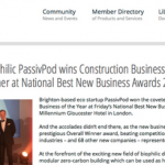 AECB, PassivPod, Eco Architecture, Sustainable Design, Awards, Best New Business Award, Construction Business of the Year award