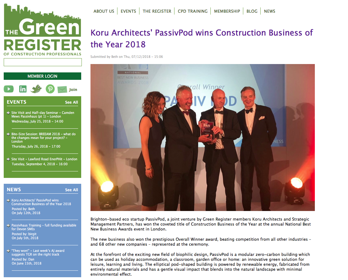 Green Register blog, July 2018Press Coverage