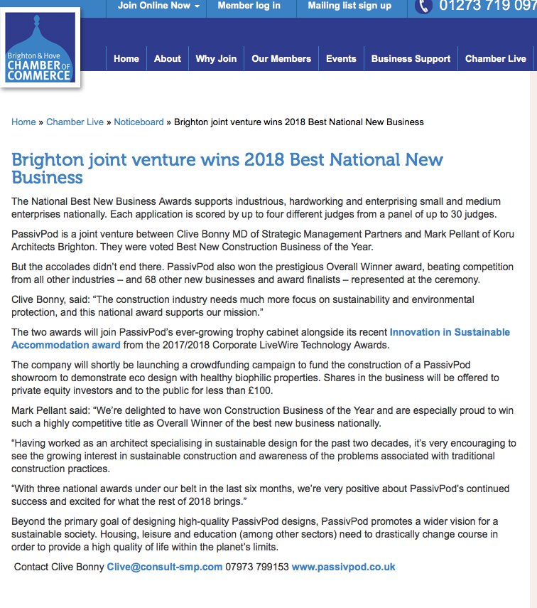 Brighton Chamber of Commerce blog, July 2018Press Coverage