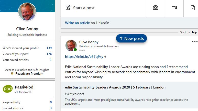 04.10.19 Edie National Sustainability Leader AwardsNews Blog News for Homepage Uncategorised