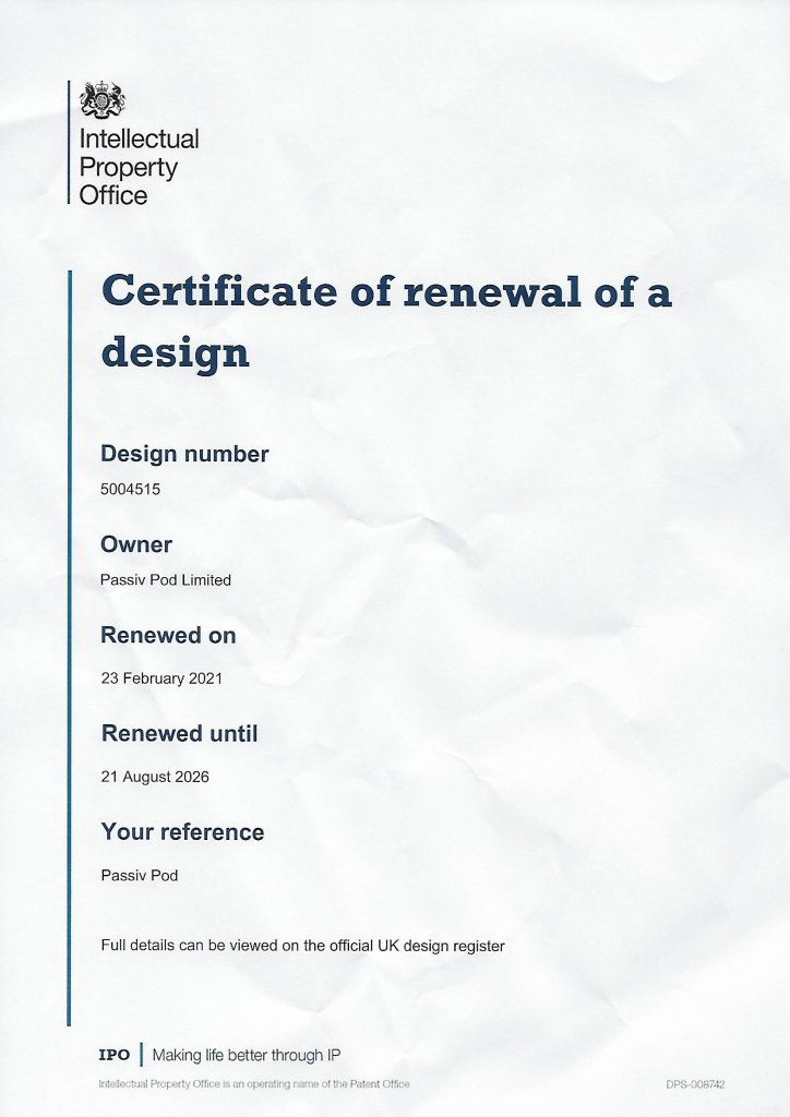 15.03.21 PassivPod's Certificate of Renewal of a DesignNews Blog News for Homepage